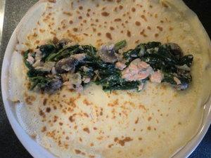 Gratin de crêpes saumon fumé & épinards